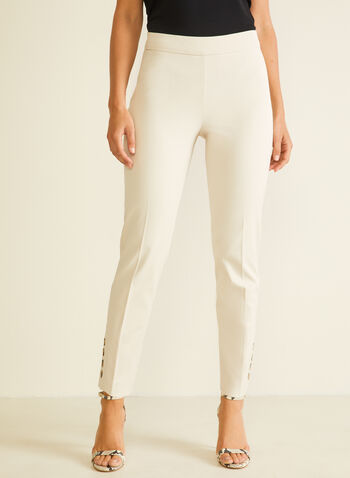 City Fit Slim Leg Pants, Off White,  pants, city fit, pleats, slim leg, cotton, spring summer 2020