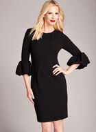 Ruffle Zipper Trim Crepe Dress, Black, hi-res