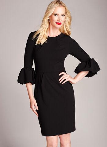 Ruffle Zipper Trim Crepe Dress, Black, hi-res
