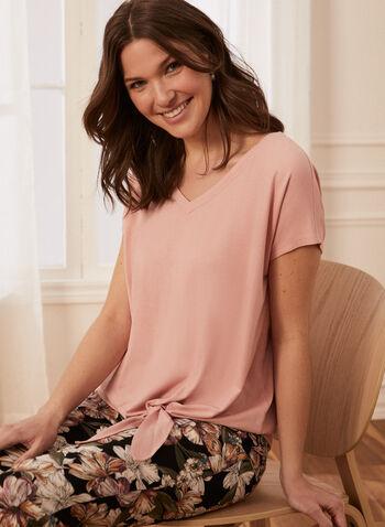 T-shirt manches courtes et détail noeud, Rose,  T-shirt, top, haut, manches courtes, encolure en V, col en V, noeud, printemps été 2021