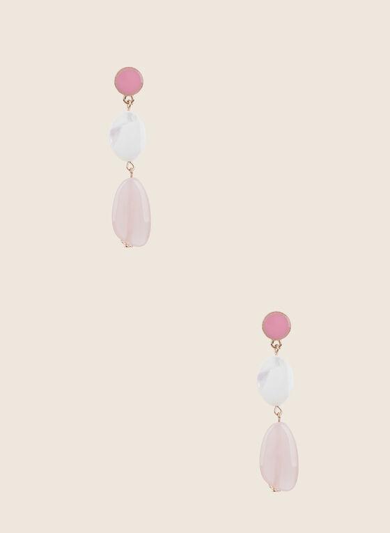 Boucles d'oreilles à pendants pierres, Rose