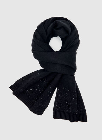 Crystal Embellished Knit Scarf, Black, hi-res