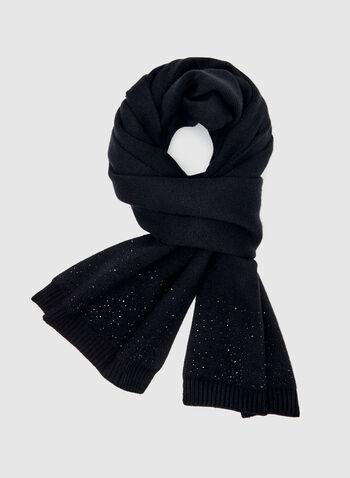 Écharpe en tricot à détails strass, Noir, hi-res