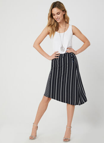 Stripe Print A-Line Skirt, Blue, hi-res,  midi skirt, asymmetric, jersey, fall 2019, winter 2019