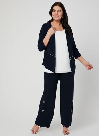 Haut ouvert à détails zippés, Bleu, hi-res,  haut, ouvert, manches 3/4, zippés, jersey, printemps 2019, canada