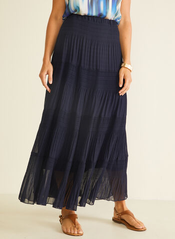 Alison Sheri - Maxi Peasant Skirt, Blue,  skirt, maxi, peasant, chiffon,