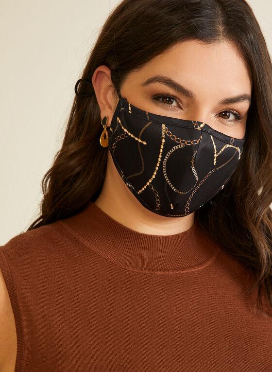 Masque en tissu à motif chaînes, Noir