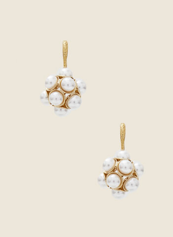 Pearl Cluster Dangle Earrings, Off White,  earrings, dangle, metallic, pearl, fall winter 2020