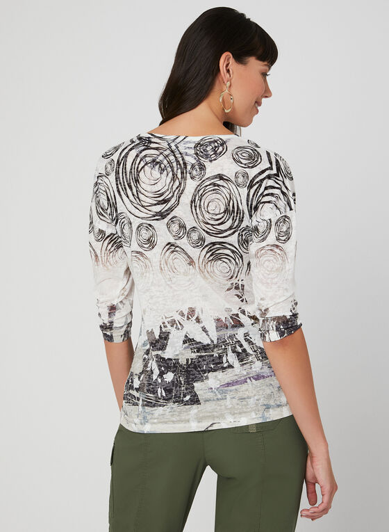 Abstract Print ¾ Sleeve Top, Black, hi-res