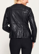 Peplum Detail Faux Leather Jacket, Black, hi-res