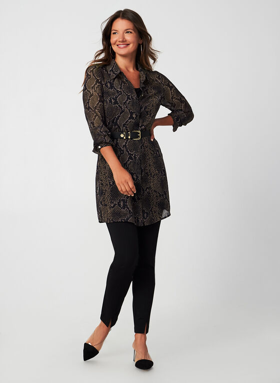 Snakeskin Print Duster Blouse, Brown