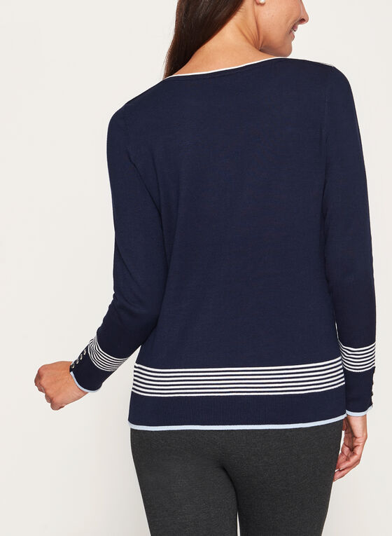 Pull en tricot à rayures et détails contrastants, Bleu, hi-res