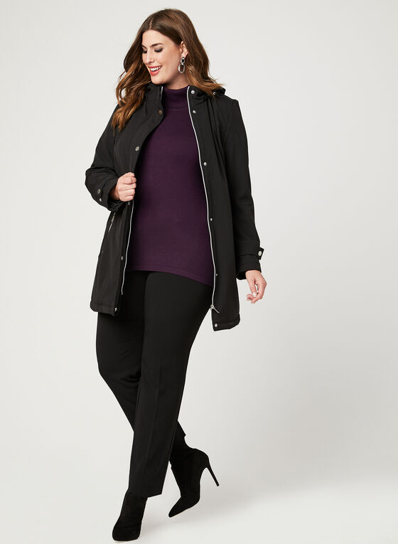 Faux Fur Lined Softshell Coat, Black, hi-res