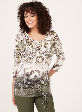 ¾ Sleeve Top With Drawstring, Green, hi-res