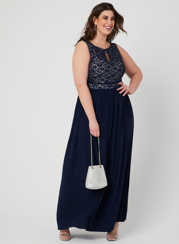 Sequin Lace Jersey Dress, Blue, hi-res