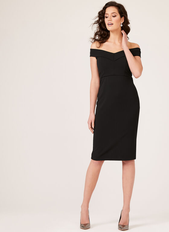 ECI New York - Off The Shoulder Fitted Dress, Black, hi-res