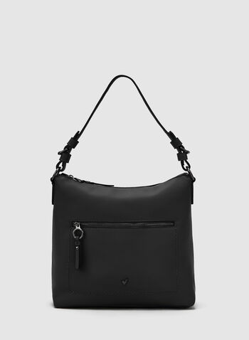 Faux Leather Hobo Bag, Black, hi-res