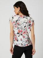 Floral Print Textured Top, White, hi-res