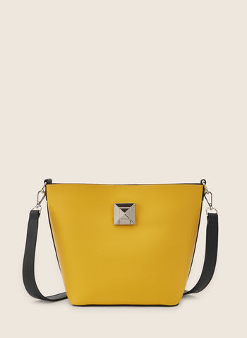 Two-Toned Tote Handbag , Yellow,  purse, handbang, tote, bag, two-toned, metallic, shoulder bag, spring 2020, summer 2020