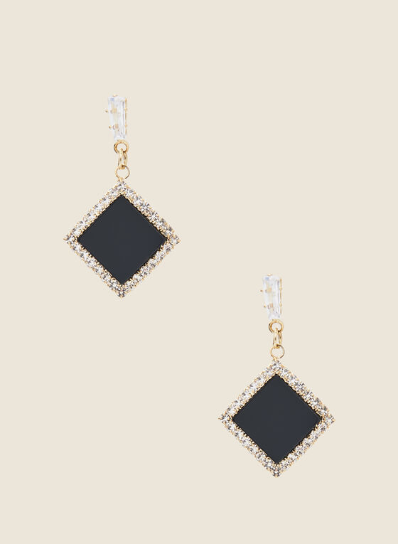 Diamond Shaped Dangle Earrings, Black