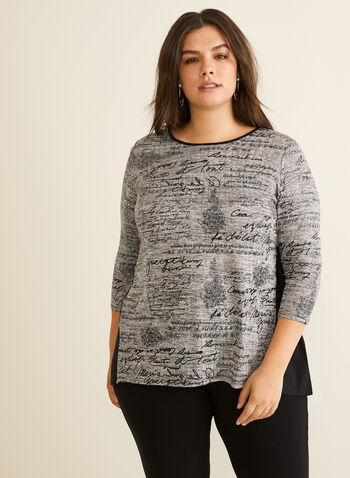 ¾ Sleeve Text Print Top, Grey,  Canada, top, 3/4 sleeves, text print, high-low hemline, fall 2019, winter 2019