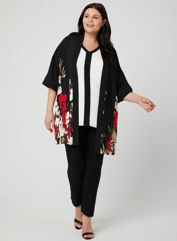 Floral Print Kimono Blouse, Black,  Open front, ¾ sleeves, spring 2019, crepe