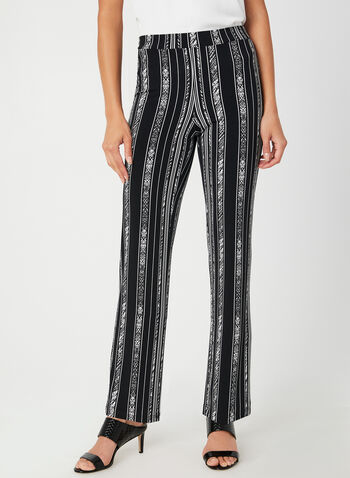 Modern Fit Straight Leg Pants, Black, hi-res,  modern fit, stripe print, abstract print, pull-on, jersey, stretchy, fall 2019, winter 2019