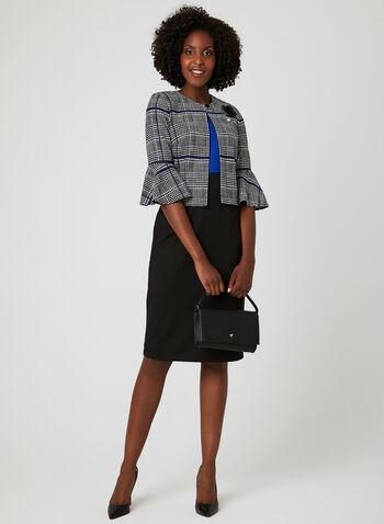 Plaid Print Jacket Dress Set, Black, hi-res