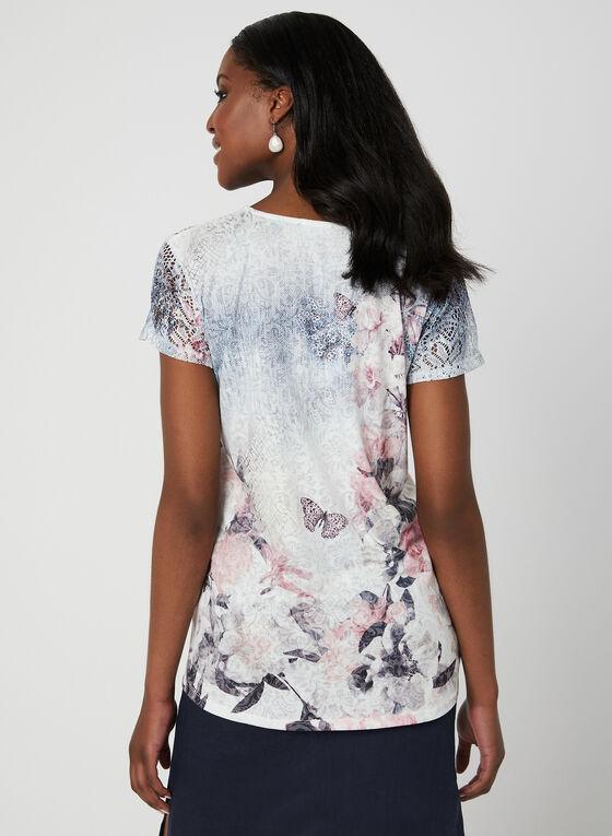 Floral Print Burnout T-Shirt, Blue