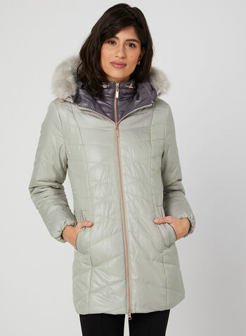 Marcona - Quilted Faux Down Coat, Brown, hi-res,
