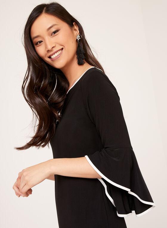 ¾ Bell Sleeve Sheath Dress, Black, hi-res