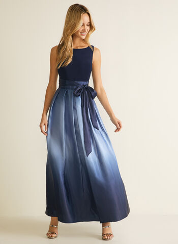 Ombre Skirt Sleeveless Dress, Blue,  dress, evening, occasion, ombre, satin, belt, bow, sleeveless, jersey, fall winter 2020