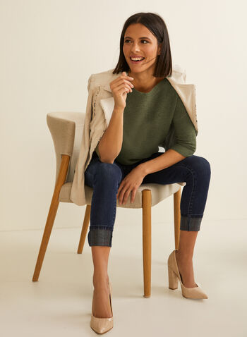3/4 Sleeve Knit Sweater, Green,  spring summer 2020, 3/4 sleeves, tape yarn, knit, lightweight, button details