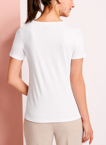 Metallic Ring Trim Cotton T-Shirt, , hi-res