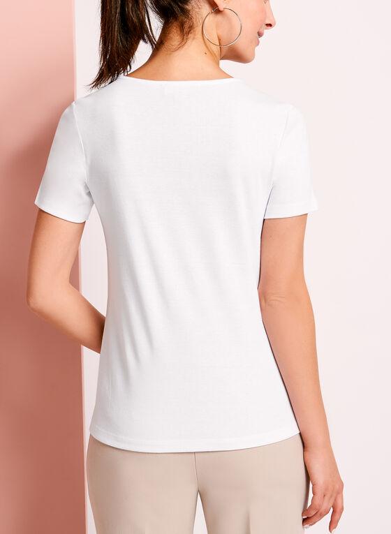 T-shirt en coton à anneau métallique, Blanc, hi-res