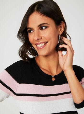 Stripe Print Knit Top, Black, hi-res