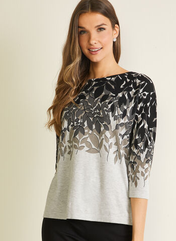 Leaf Print Sweater, Grey,  sweater, boat neck, 3/4 sleeves, leaf print, rhinestones, fall winter 2020