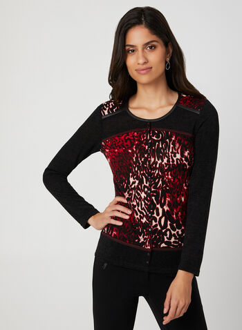 Vex - Leopard Print Top, Red,  top, faux leather, animal print, leopard print, fall 2019, winter 2019