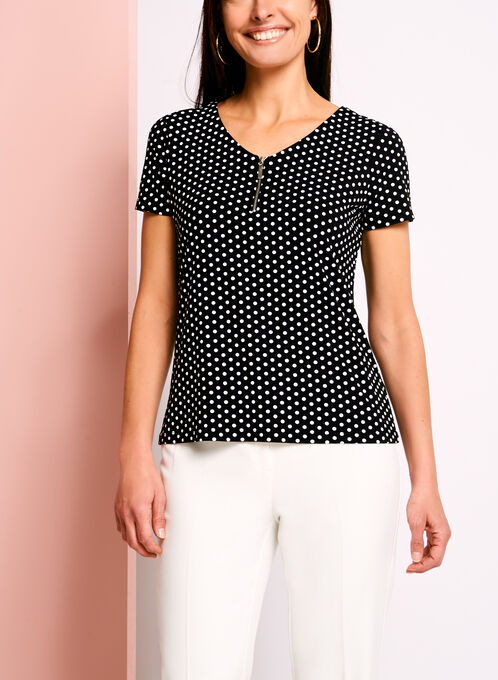 T-shirt à pois, col V zippé et dos ajouré, Noir, hi-res