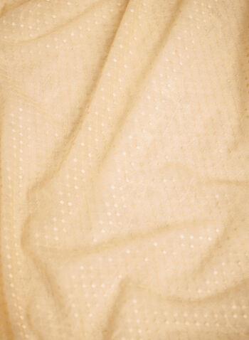 Étole en maille filet à pois, Blanc cassé,  automne hiver 2021, accessoires, fait au Canada, étole, foulard, écharpe, léger, pois, maille filet