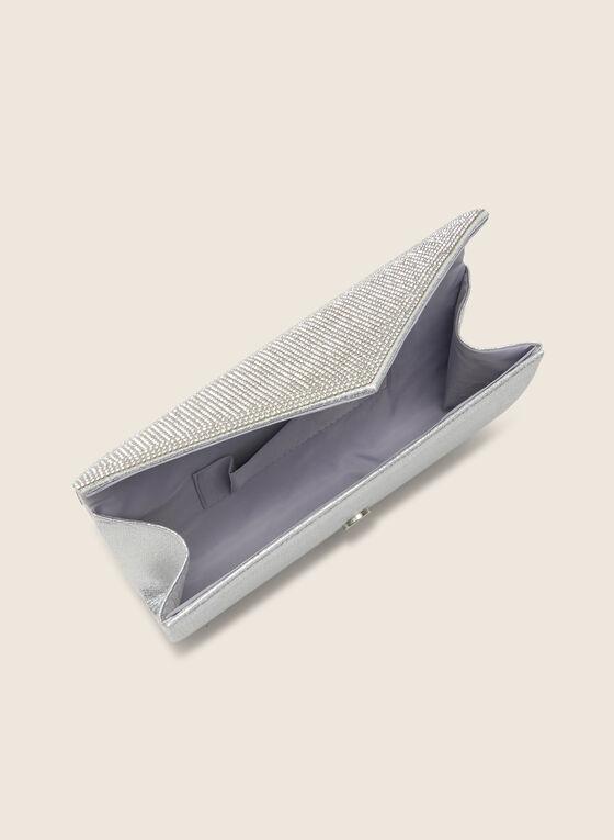 Pochette enveloppe métallisée et cristaux, Argent