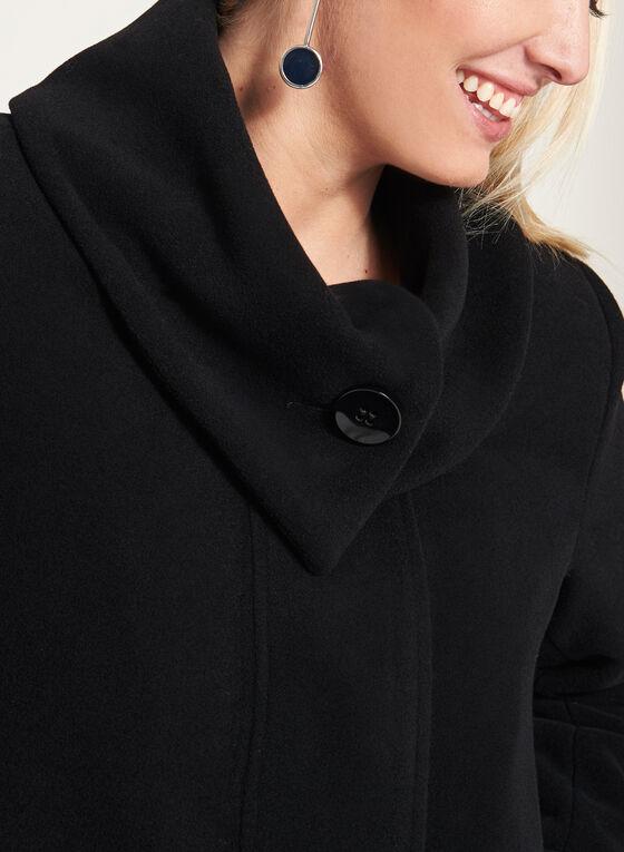 Manteau trapèze en laine et cachemire mélangés, Noir, hi-res