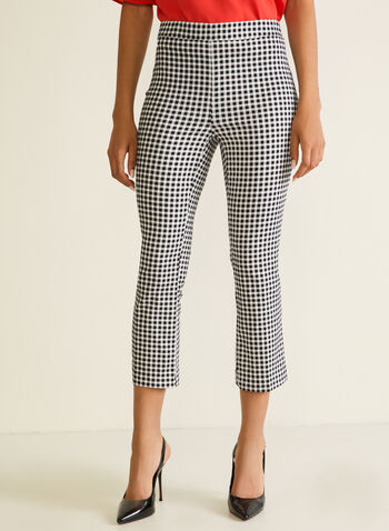 Gingham Print Pull-On Capris, Black,  capris, gingham, pull-on, flared, spring summer 2020
