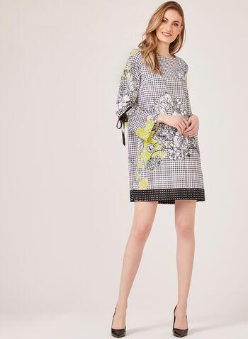 Floral Gingham Print Dress, Black, hi-res