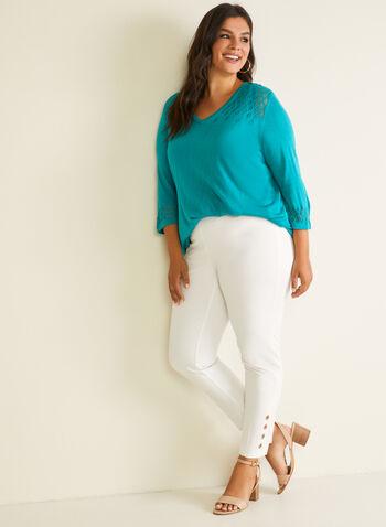Pointelle Detail Sweater, Blue,  sweater, 3/4 sleeves, v-neck, pointelle, spring summer 2020