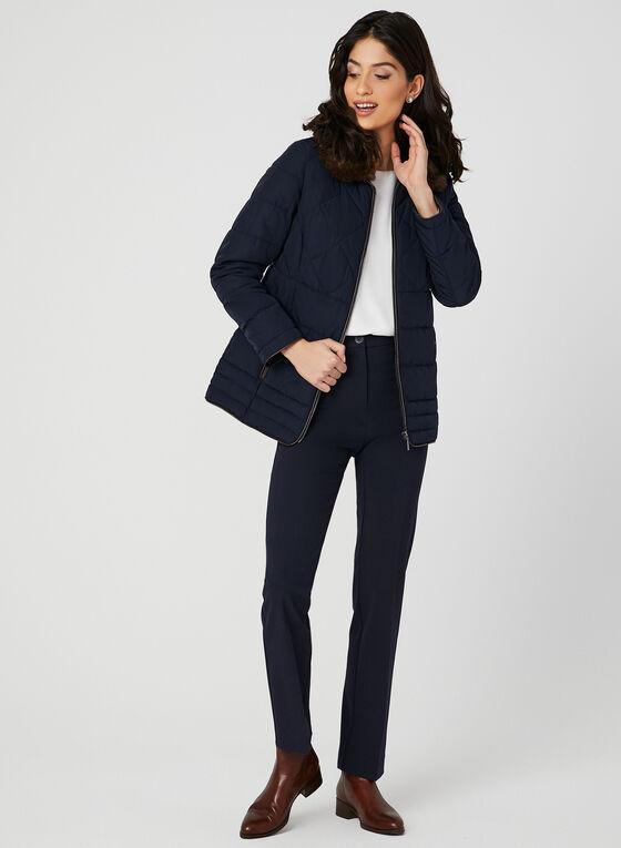 Manteau matelassé avec col en fausse fourrure, Bleu