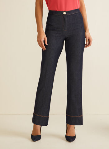 Straight Leg Denim Pants, Blue,  pants, denim, straight leg, signature fit, high rise, pleats, topstitch, spring summer 2020