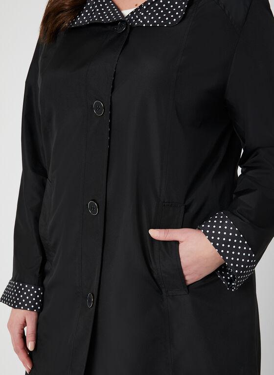 Fennelli - Manteau droit à doublure pois, Noir, hi-res
