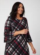 3/4 Bell Sleeve Plaid Dress, Black, hi-res