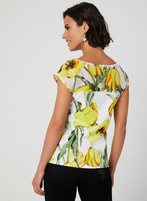 Floral Print Sleeveless Top, White, hi-res